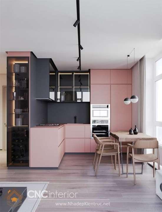 bếp nổi bật với những gam màu tương phản