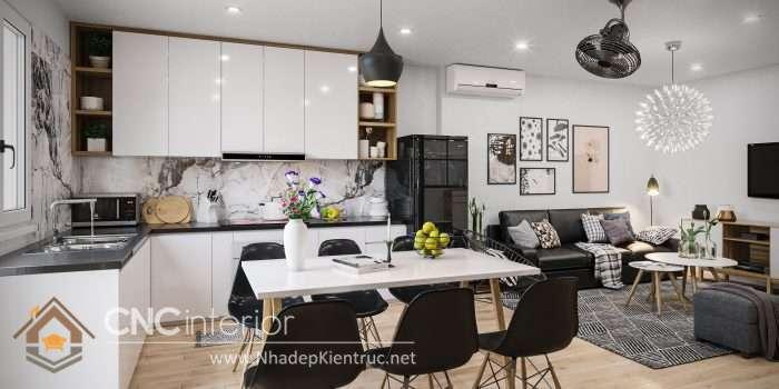 thiết kế bếp liền phòng khách 1