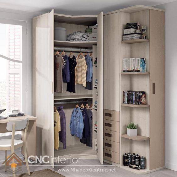 tủ đồ bo góc tận dụng triệt để không gian