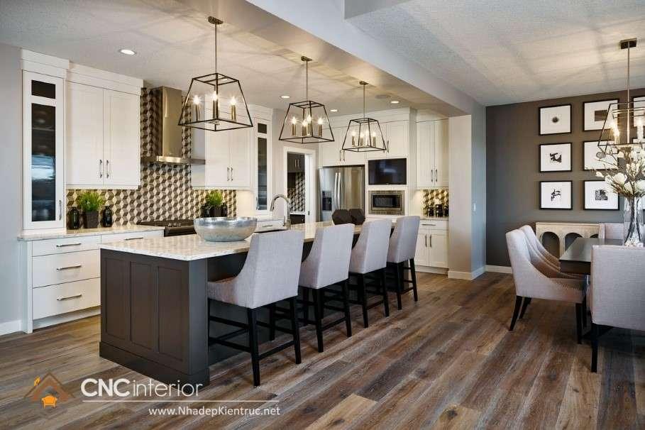 Thiết kế bếp liên thông phòng khách hiện đại (11)